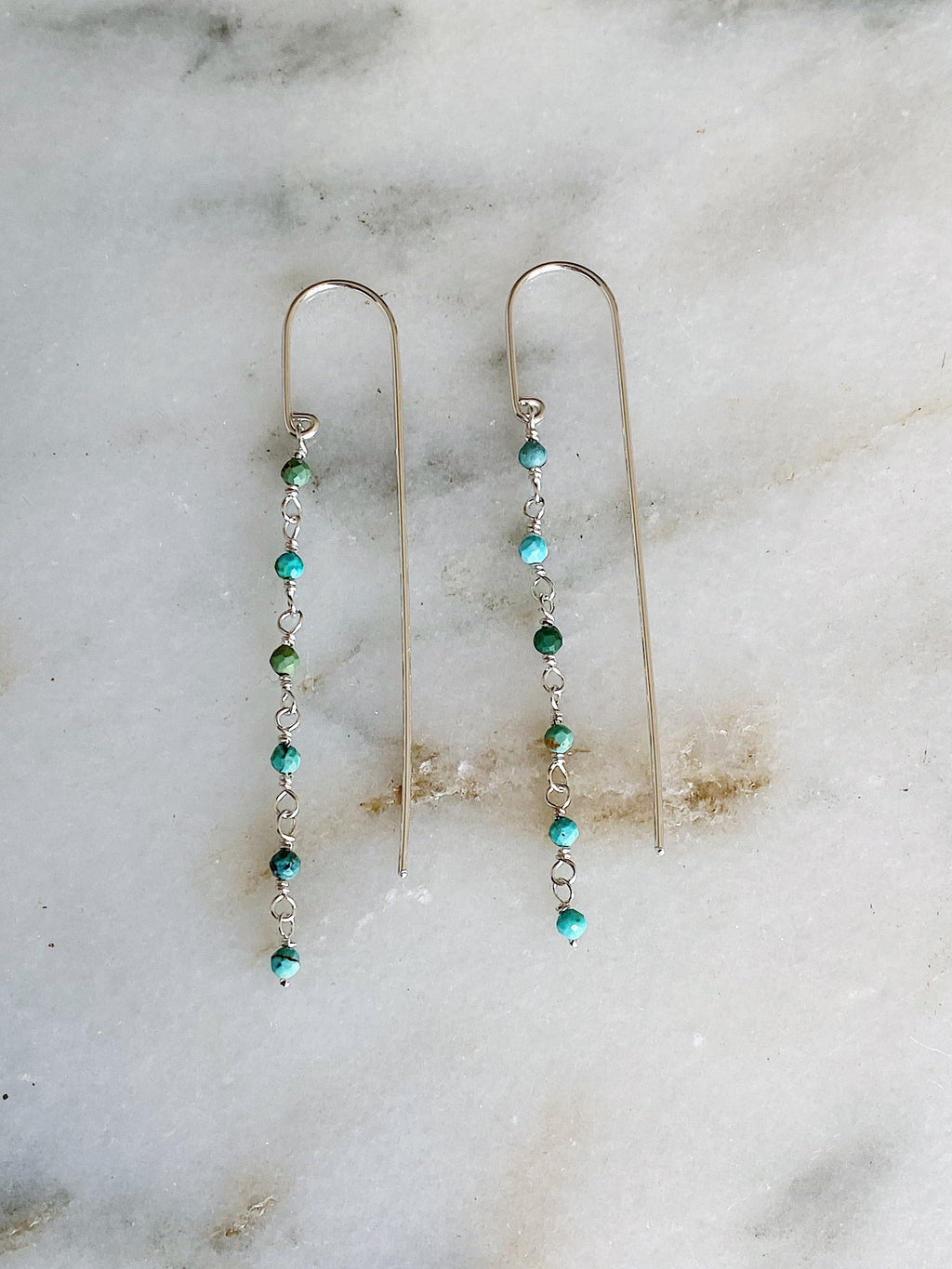 Turquoise Bar Threaders - Silver