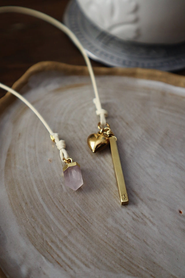 Rose Quartz & Brass Bar Bookmark