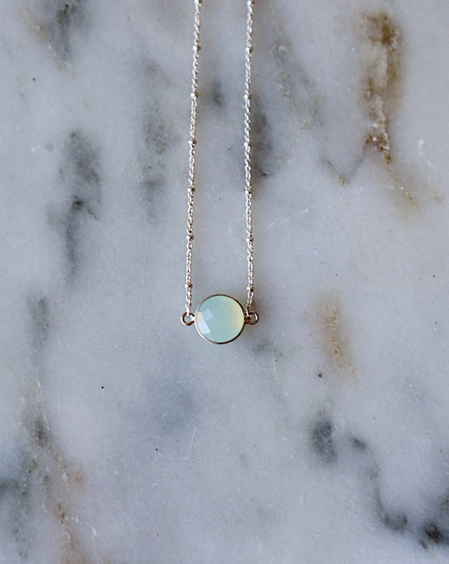 Aqua Chalcedony Necklace - Silver