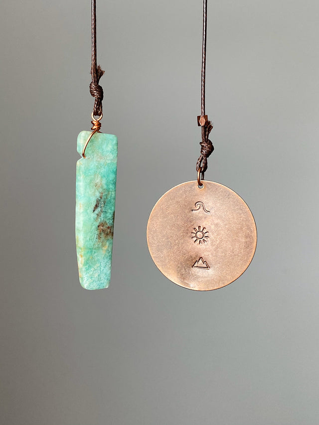 Amazonite & Stamped Copper Coin Bookmark