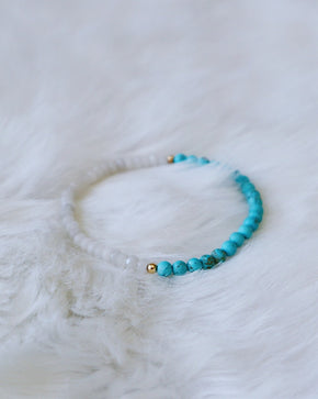 White Jade & Matte Turquoise - Gold