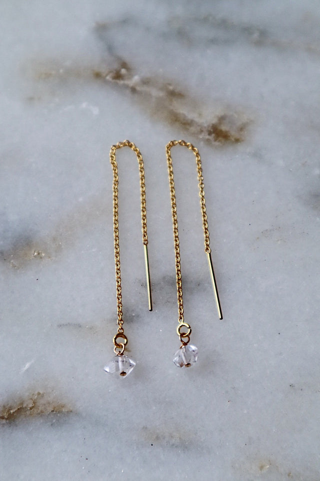 Herkimer Diamond Threader Earrings - Gold