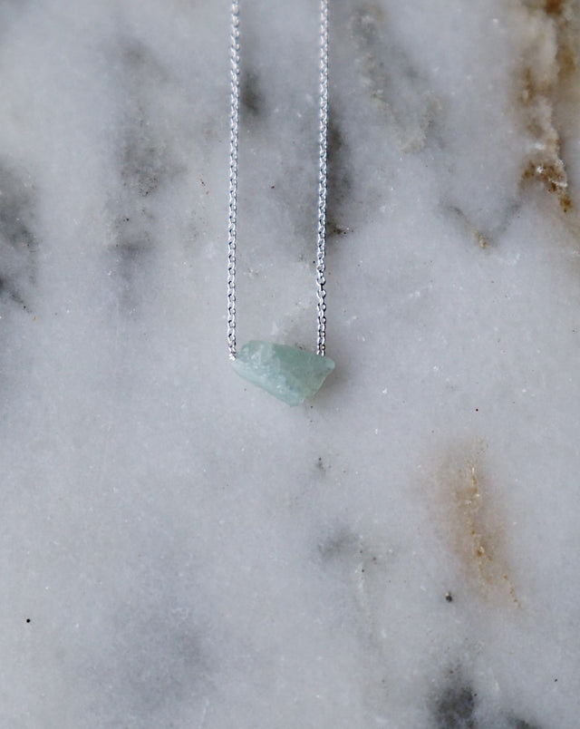 Floating Ocean Aquamarine Necklace - Silver