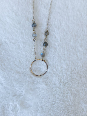 Circle Bracelet with Labradorite - Gold or Silver