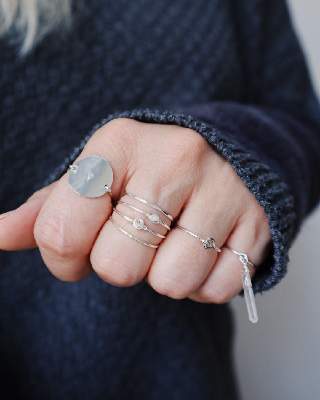 Faceted Stacking Ring - Silver