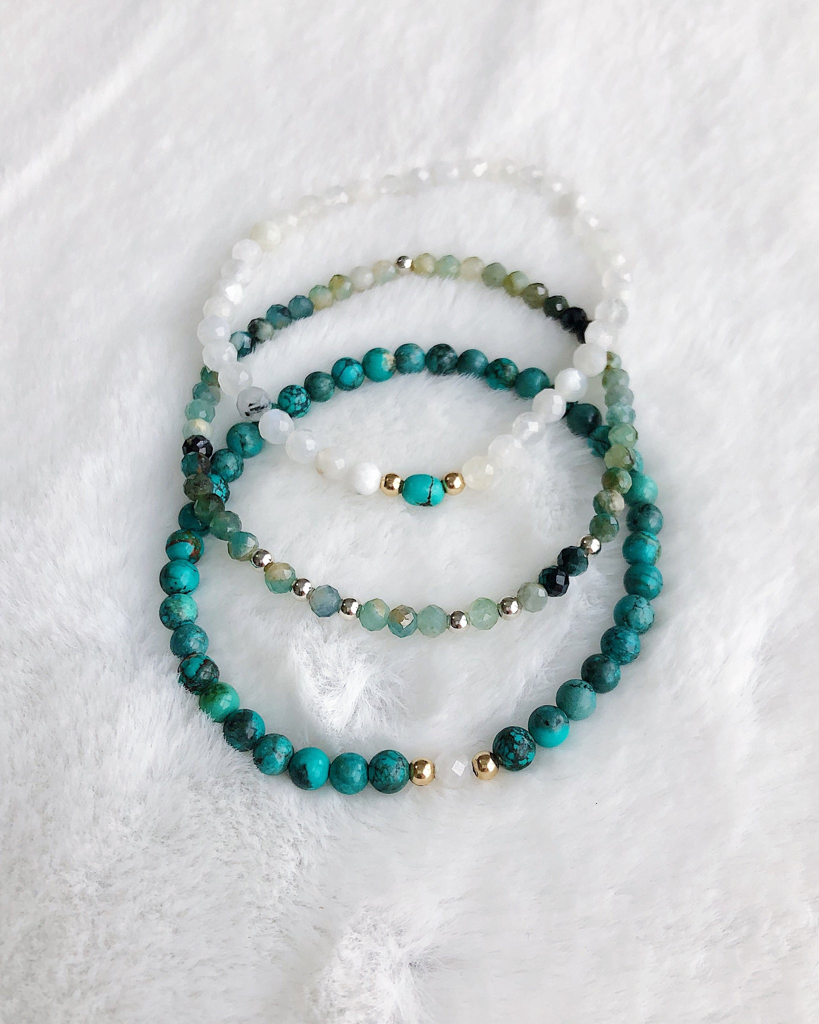 Moonstone Turquoise Grandidierite Stack - Silver