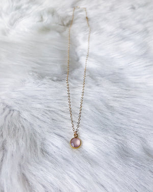 Rose Chalcedony Coin Necklace - Gold