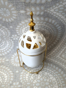 White/Gold Bukhoor Burner with Magnetic Lid