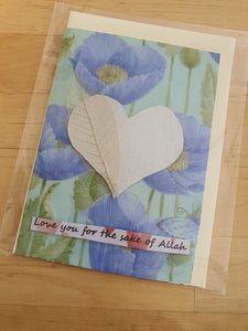 Handmade 'Love You For the Sake of Allah' Card