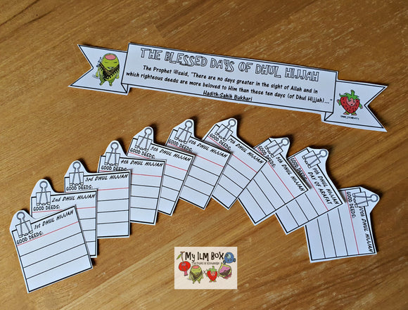 FREE Printable 'The Blessed Days of Dhul-Hijjah Good Deeds' Chart/Cards