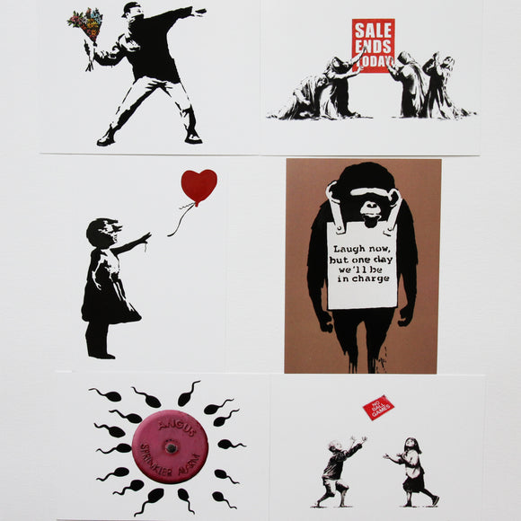 SET OF 6 BANKSY A6 POSTCARD PRINTS