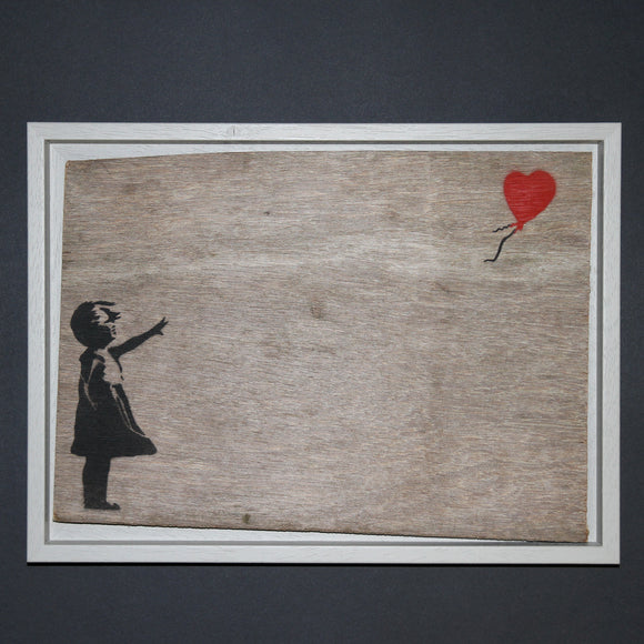 GIRL WITH BALLOON ON WOOD FRAMED