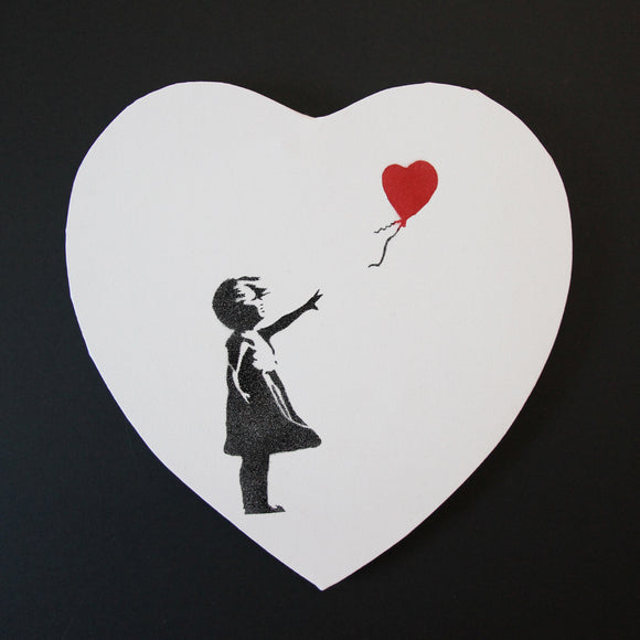 GIRL WITH BALLOON LOVE HEART CANVAS 1