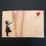 GIRL WITH BALLOON ON WOOD
