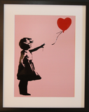 GIRL WITH BALLOON PINK POLYMER PRINT (A3 FRAMED / UNFRAMED)