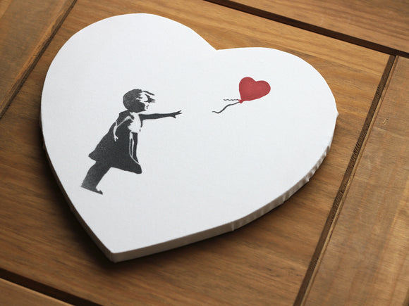 Girl With Balloon Love Heart Canvas Diamond Dusted