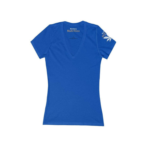 Bextera Nutrition Gear V-neck True Royal / S Women's Jersey Short Sleeve Deep V-Neck Tee in 8 awesome colors!