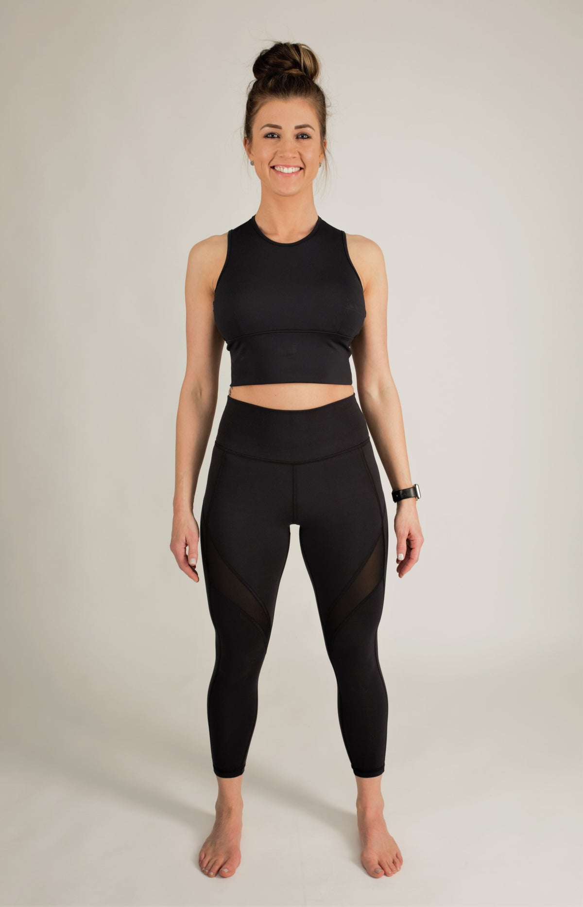 Black tummy control leggings and matching top