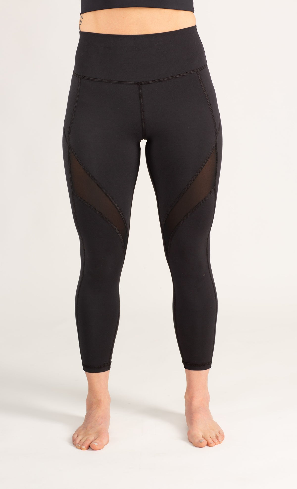 black high waisted tummy control mesh leggings