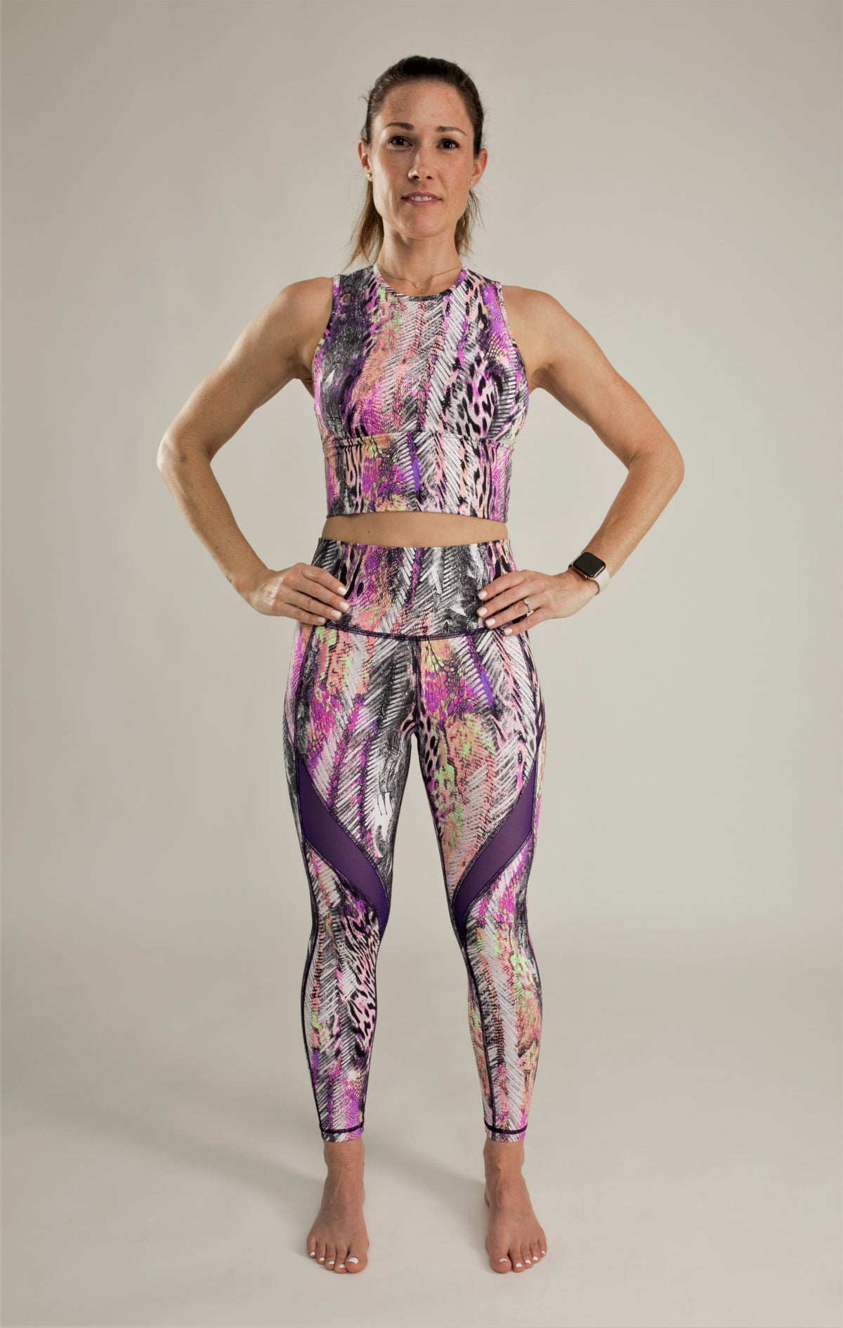 Pink and Purple Leggings High-Waisted