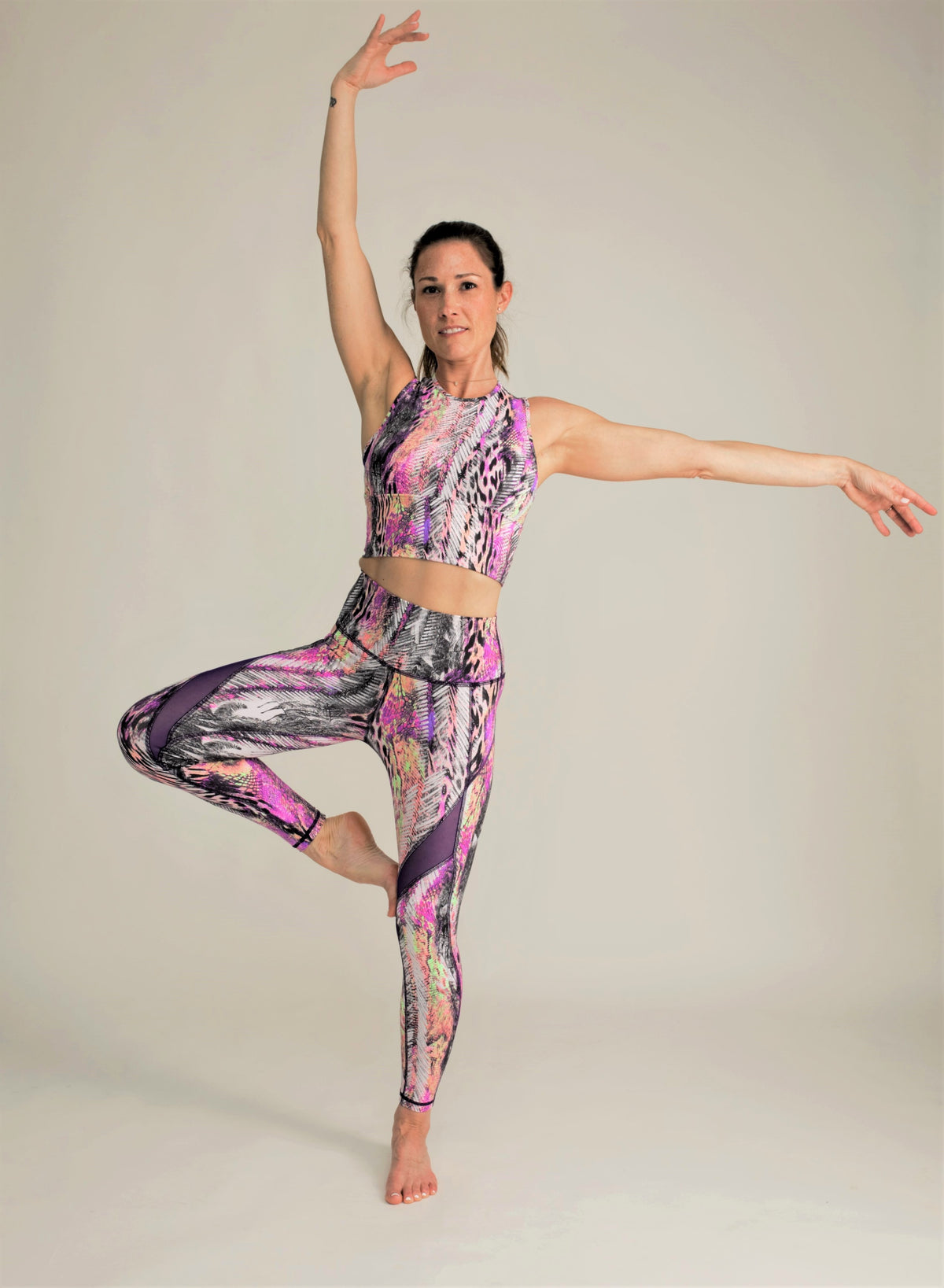 purple print matching set for yoga mesh tummy control