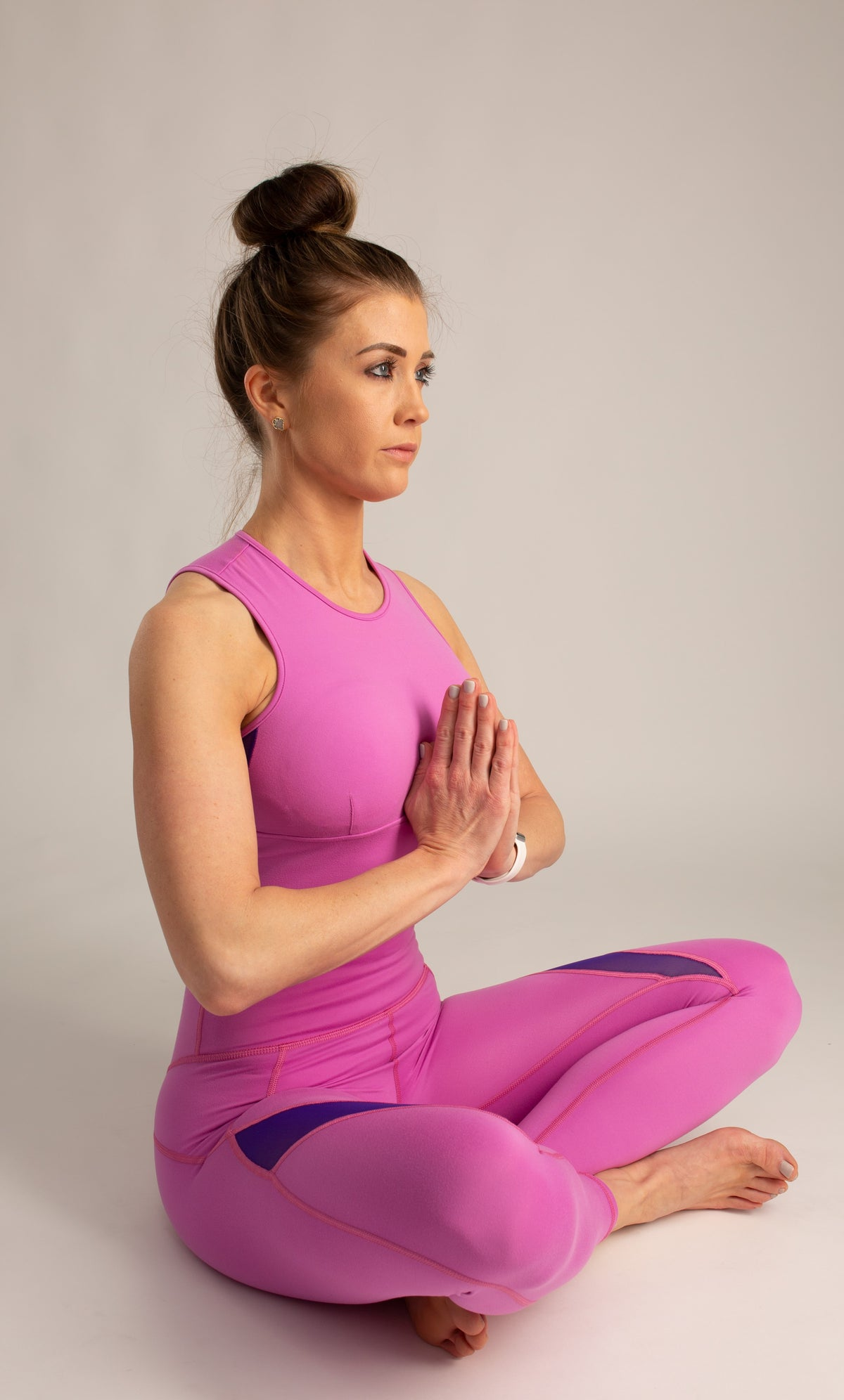 pink squat proof high raise leggings and top