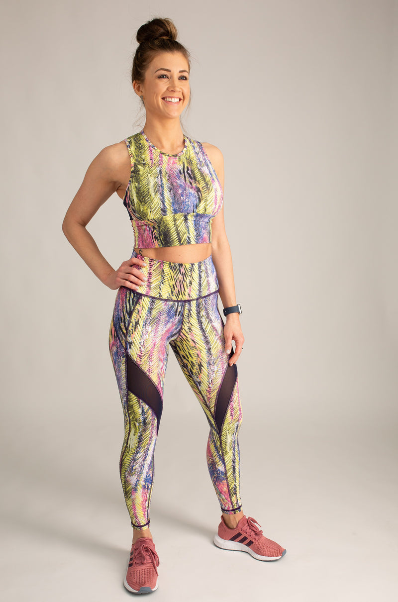 Tropic Sage High-Waisted 7/8 Mesh Leggings