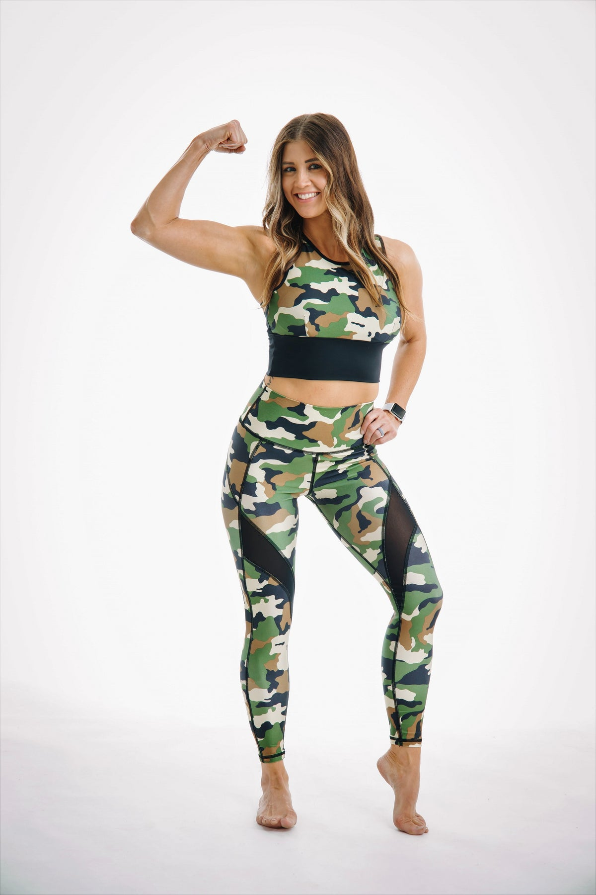 Camo tummy control matching set for yoga and gym