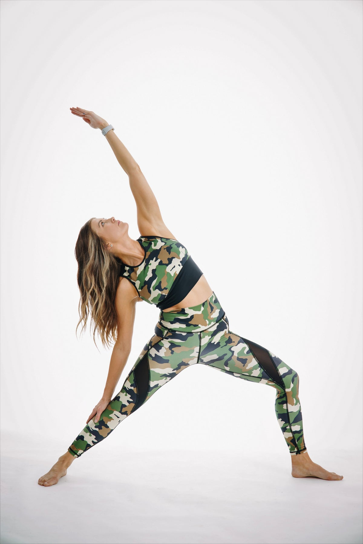 Camo mesh top with bra inserts matching high waisted 7/8 leggings