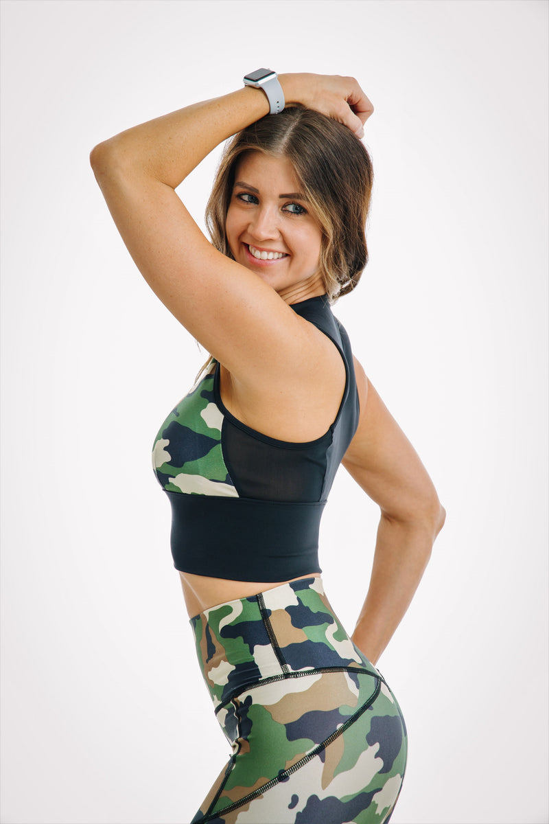 Camo mesh top with bra inserts matching camo set for gym