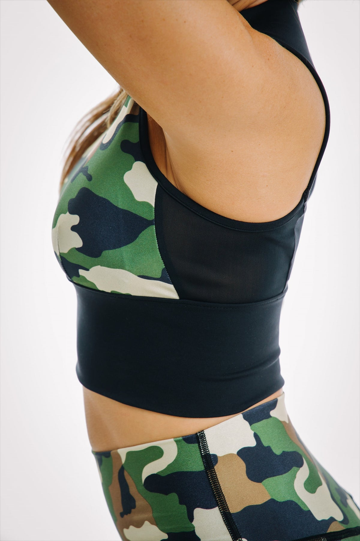 Camo athletic top sports bra with mesh