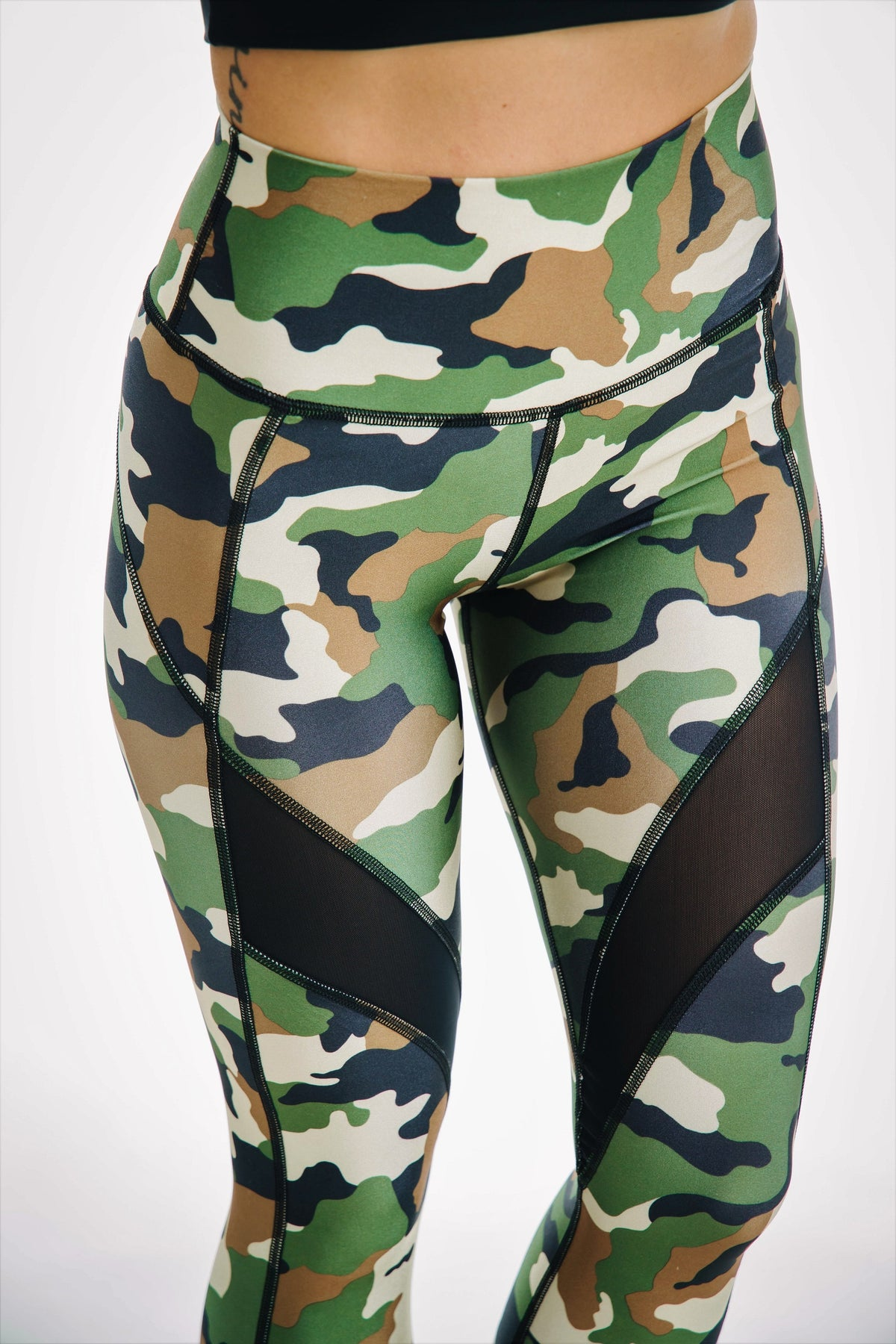 camo high waisted mesh leggings 7/8