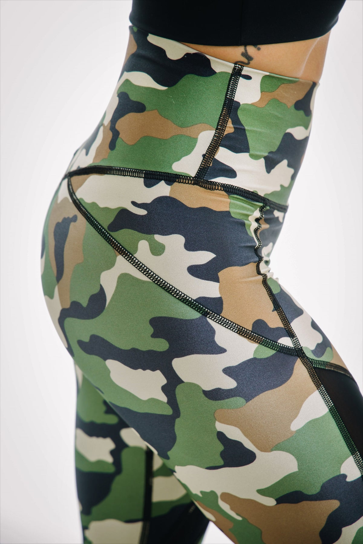 camo tummy control 7/8 mesh leggings