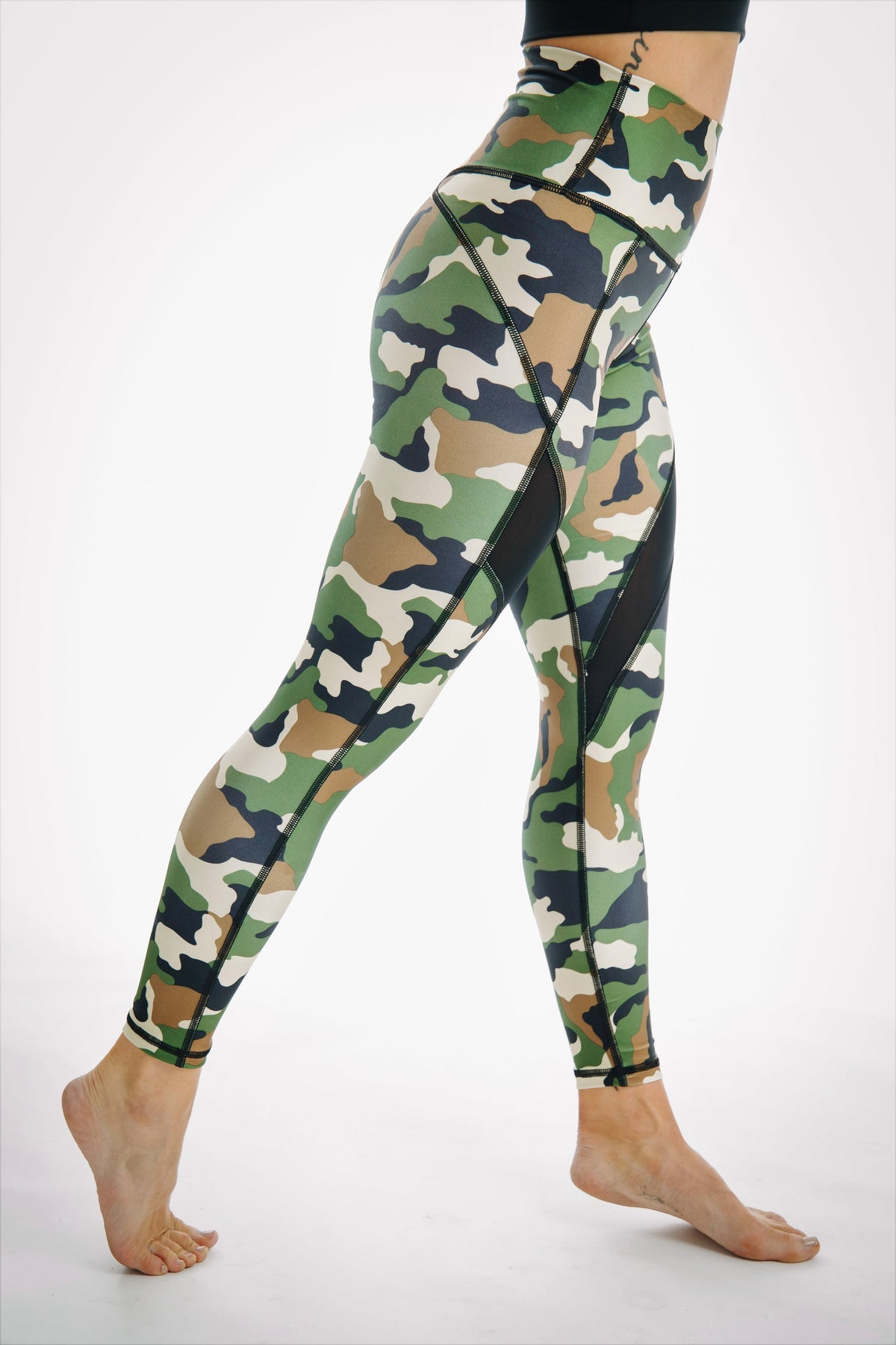 camo mesh leggings tummy support high waisted for gym