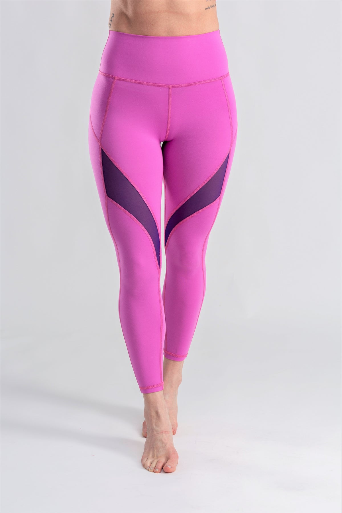 Pink and purple mesh leggings