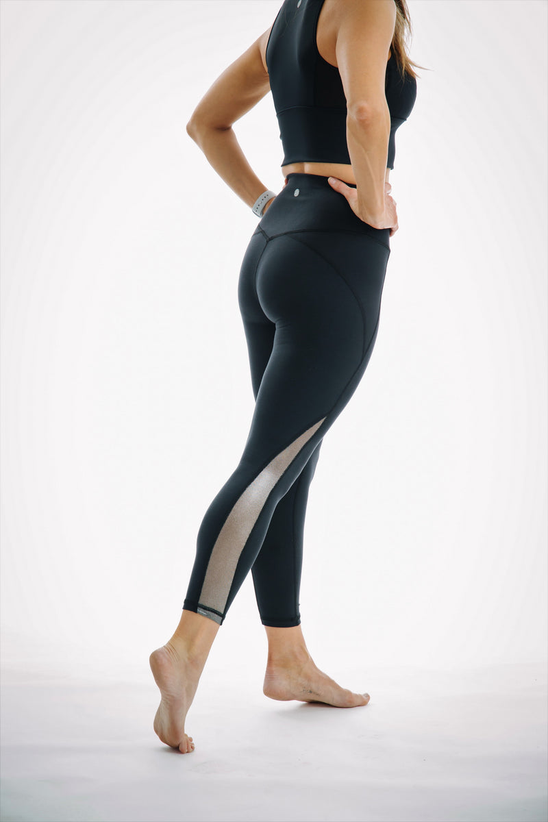Sundance Black High-Waisted 7/8 Metallic Mesh Leggings