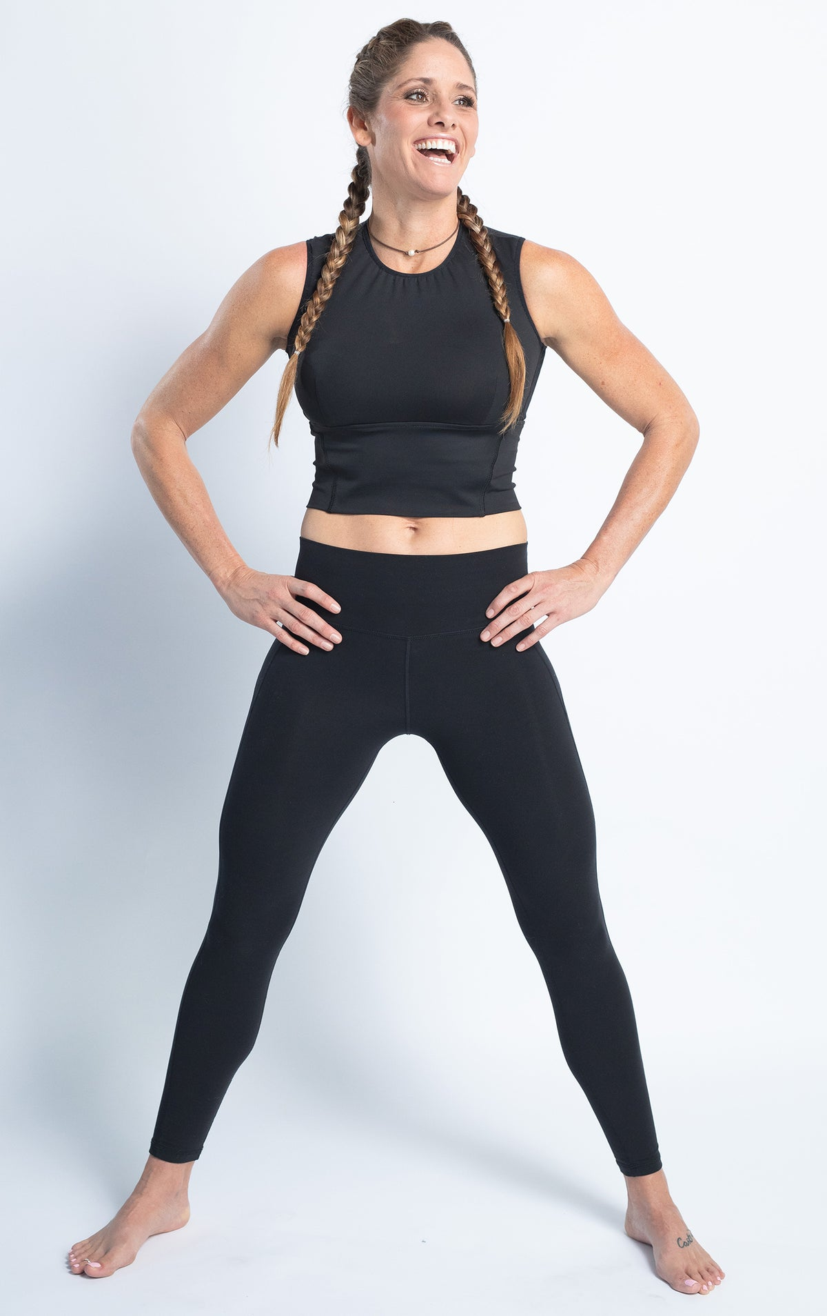 Lycra Legging high rise leggings. black tummy control yoga pants