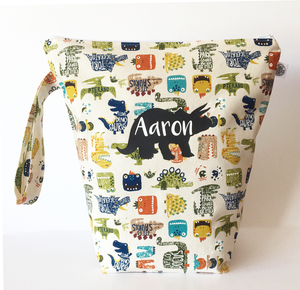 DINOSAURS - BEIGE | Personalised Wet Bag