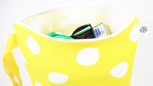 YELLOW & WHITE POLKA DOTS | Personalised Wet Bag