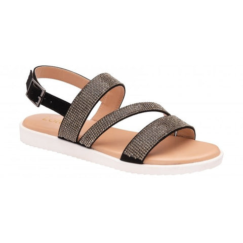 Lotus Olive sandal - black/diamante