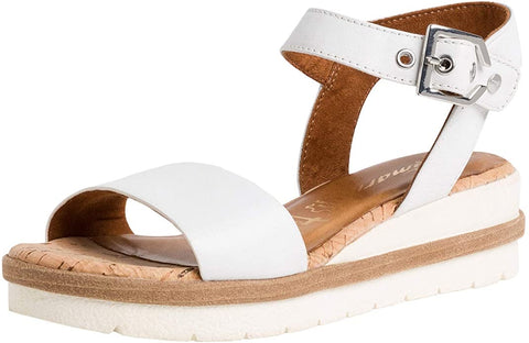 Tamaris 28222 white leather sandal