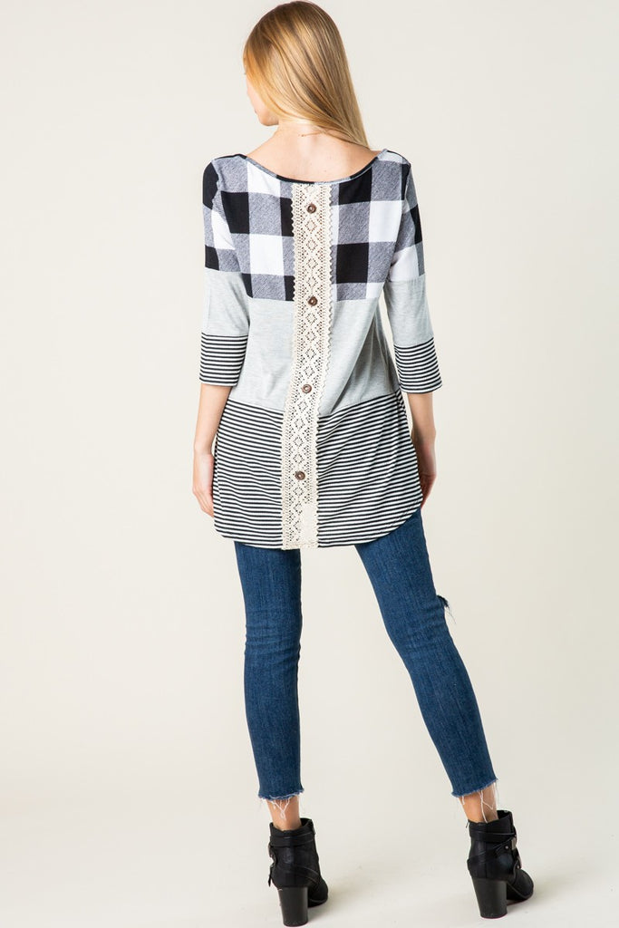 Plaid and Stripe Tunic Top