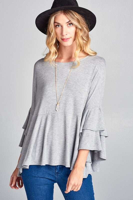 Oversized Bell Sleeve Ruffle Top