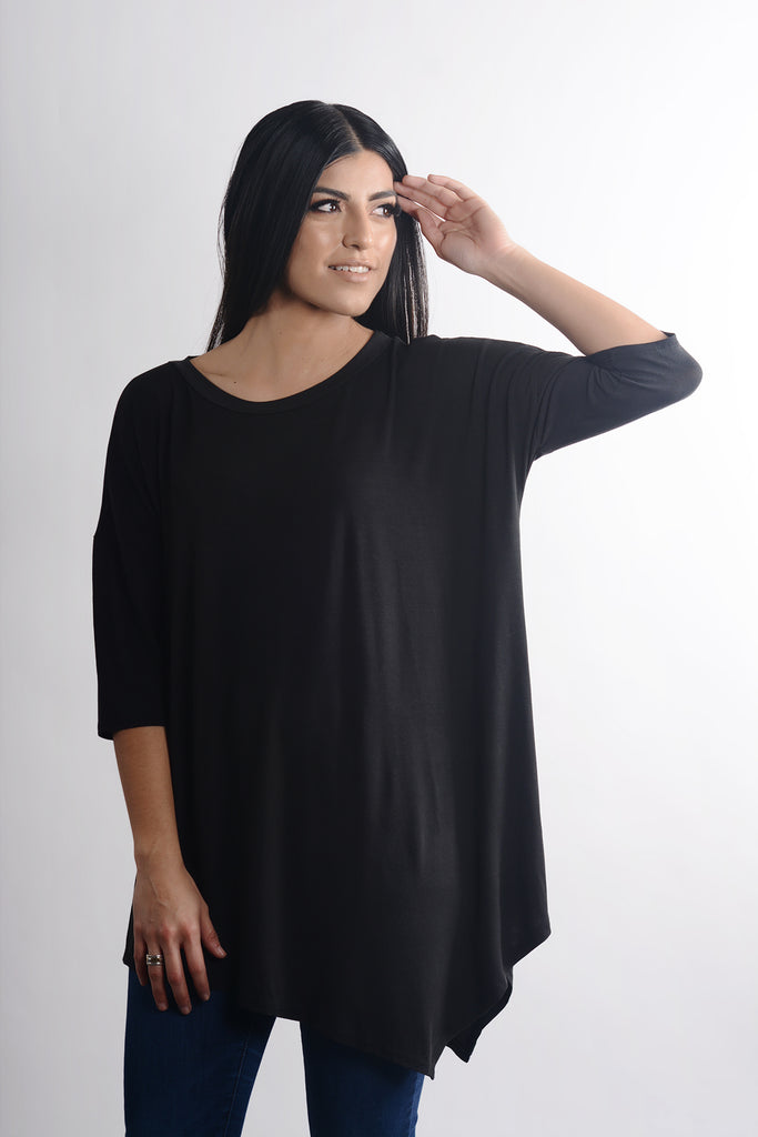 model wearing size S Lucky Franklin Oversized Asymmetrical Tunic