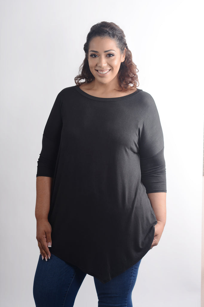 model wearing size XL Lucky Franklin Oversized Asymmetrical Tunic