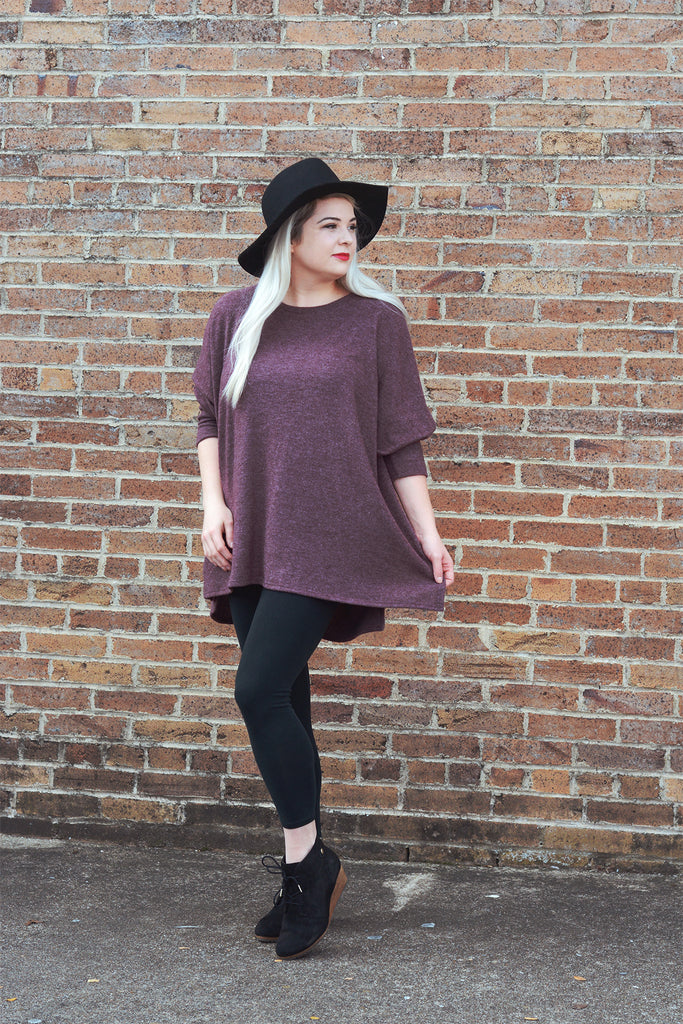 model wearing a size M Lucky Franklin Oversized Cozy Dolman Sweater in Burgundy
