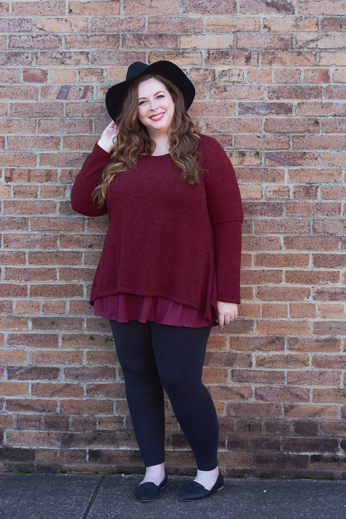 Burgundy Two Layer Sweater
