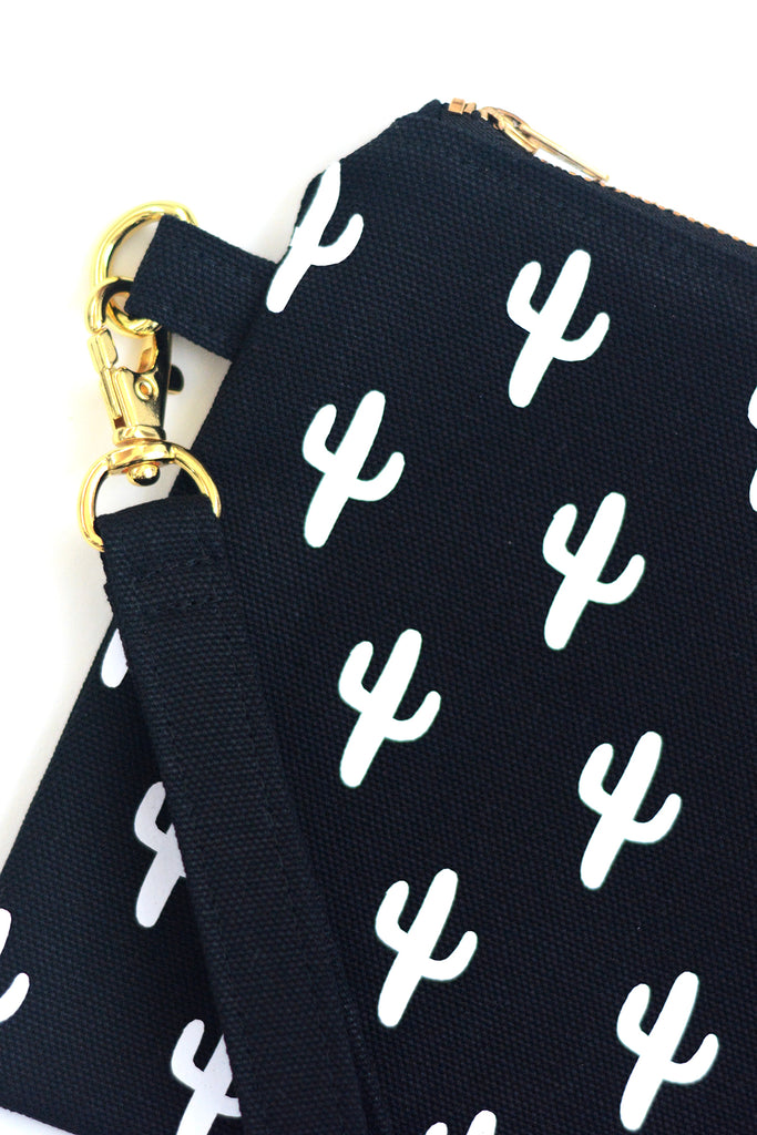Small Flat Canvas Zip Pouch with Black and White Cactus Print Detail
