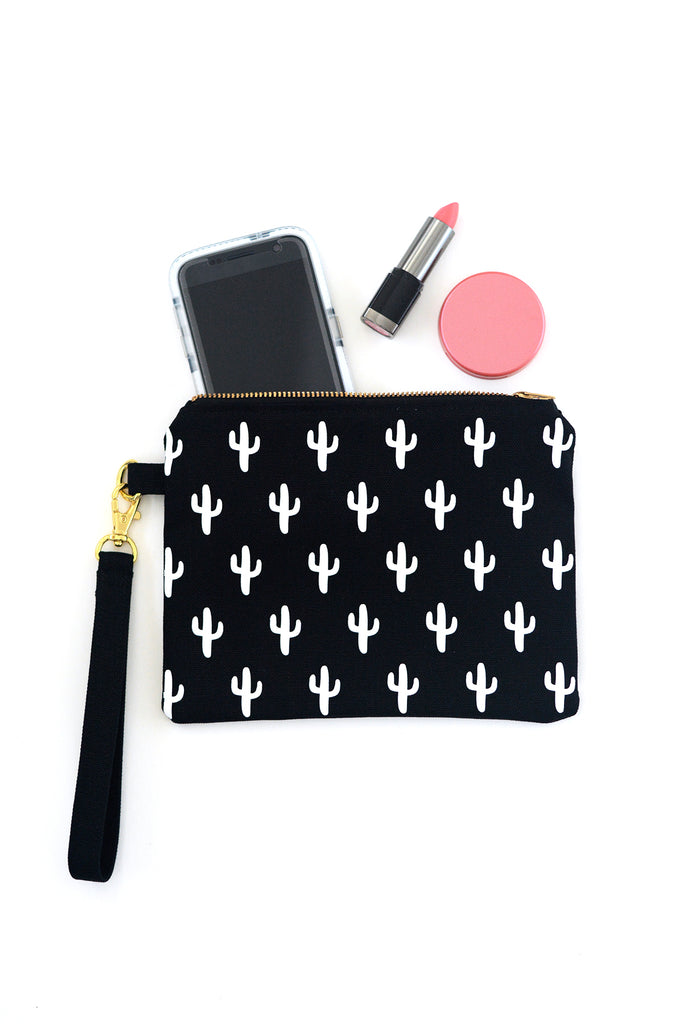 Small Flat Canvas Zip Pouch with Black and White Cactus Print