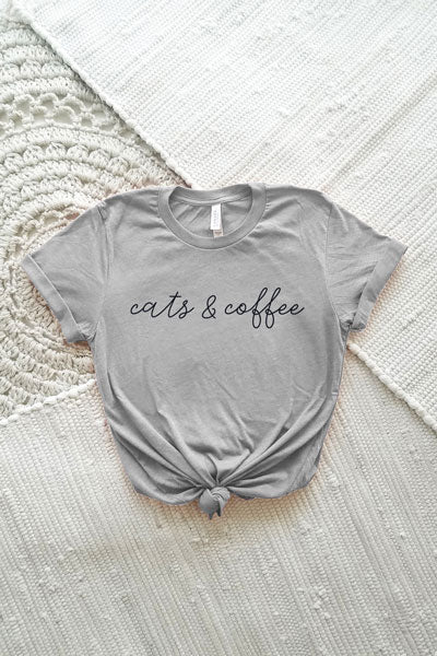 Ash grey unisex triblend crewneck tee with a black Cats & Coffee script design